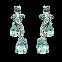 Earrings Batik - Blue Topaz 18k White Gold