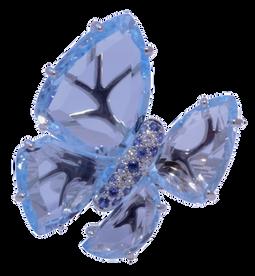 Bague Papillon - Topazes bleus Or Blanc 18k