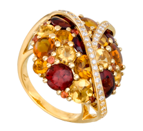 Galaxie ring - Garnets and Citrines 18k Yellow Gold