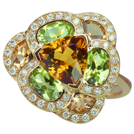 Lotus Pensée ring - Citrines and Peridots 18k Yellow Gold