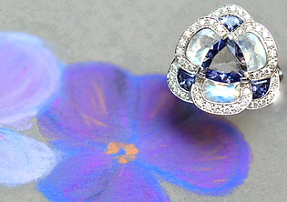Flora pensée, or gris, bleu, rouge, pierres fines, diamants, haute joaillerie, Paris, créateur, multi pierres, pierres fines, Fleurs, bohême