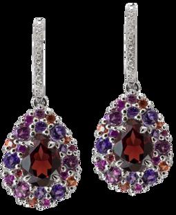Emotion Poire earrings - Garnets 18k White Gold