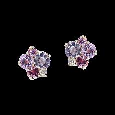 Boucles d'oreilles Pointilliste - Rose de France Or Blanc 18k