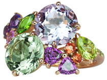 Bague Eden - Quartz Vert et Améthystes Or Rose 18k