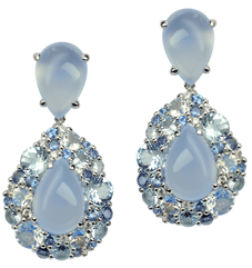 Emotion Poire earrings - Chalcedony 18k White Gold