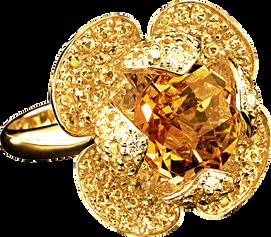 Flora Lotus ring - Citrine 18k White Gold