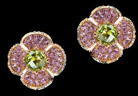 Flora Lotus earrings - Peridot 18k Pink Gold