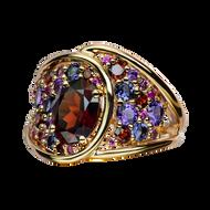 Petale ring - Garnet 18k Pink Gold
