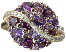Galaxie ring - Amethysts 18k White Gold