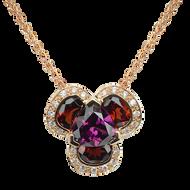 Lotus Pensée necklace - Rhodolite and Garnets 18k Pink Gold