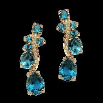 Earrings Batik - London Blue Topaz 18k Pink Gold