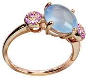 Macarons ring - Blue Chalcedony 18k Pink Gold