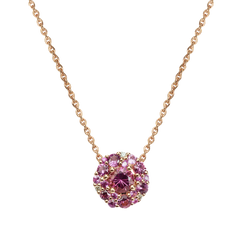 Collier Emotion Rond - Tourmalines Roses Or Jaune 18k