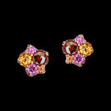 Boucles d'oreilles Pointilliste - Grenats Or Rose 18k