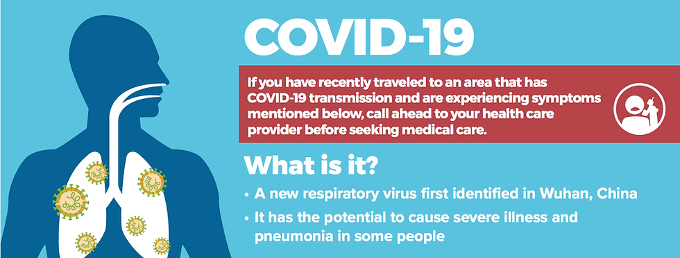 COVID-19: If you have recently traveled to an area that has COVID-19 transmission and are experiencing symptoms mentioned below, call ahead to your health care provider before seeking medical care.