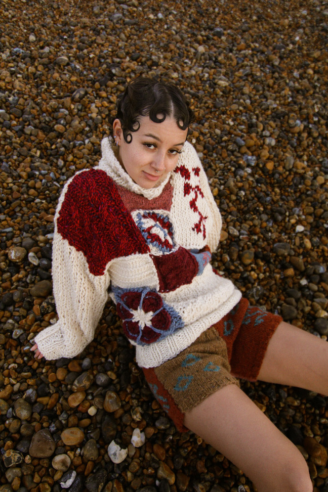 Power Patch Jumper worn by Angel Shot and Styled by Liberty Cooper
