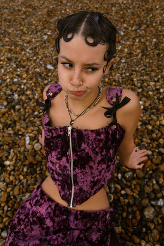 Longing Velvet Corset worn by Angel Shot and Styled by Liberty Cooper