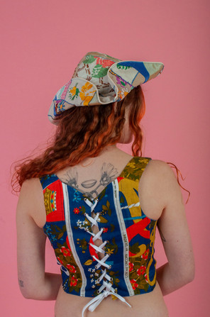 The Lion and The Unicorn Corset &   The Pirate Hat Patchwork Tricorn made in collaboration with Hannah Mae Buckingham