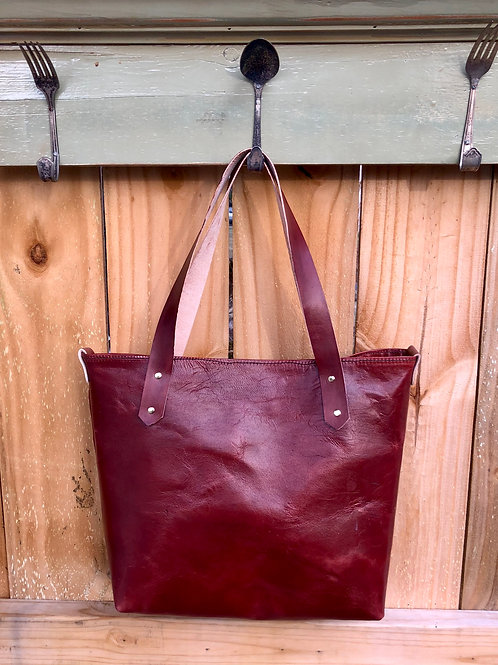 Leather Turned Tote Bag