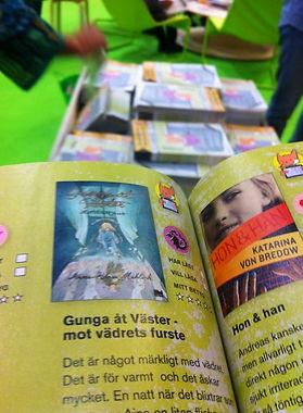 Barnens biblioteks plansch på rekommenderade böcker under temat Hjältar i andra väldar