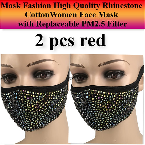 Mask Fashion High Quality Rhinestone CottonWomen Face Mask with Replaceable PM2.