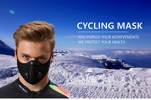 PM2.5 Outdoor Cycling Sport Mask Face Cover Double Valves Cover Activated Carbon