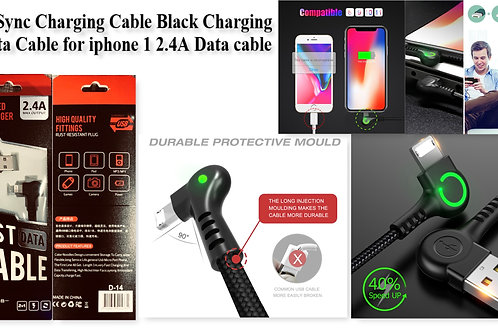 Sync Charging Cable Black Charging Data Cable for iphone 2.4A Data cable