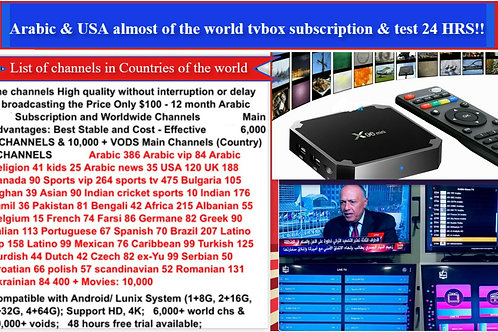 2-years Subscription with tvbox x96mimi channls arabic and global