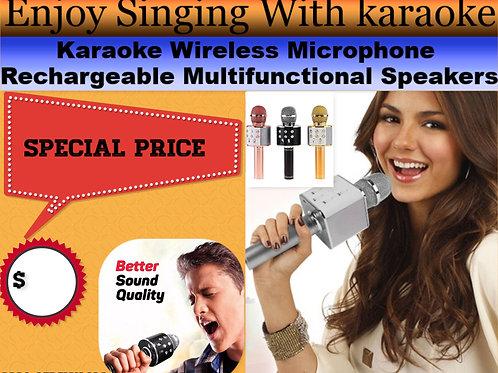 Karaoke Wireless Microphone Rechargeable Multifunctional Speakers
