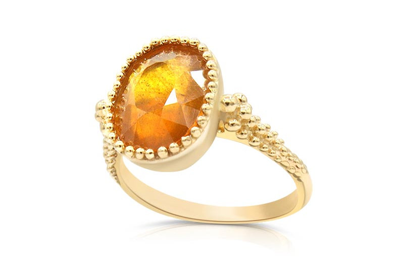 One of a Kind Golden Yellow Sapphire Ring