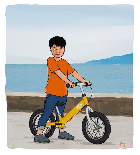 Boy With a Bike | Digital Illustration for a Children's Book