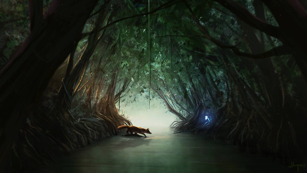 fox reaching out to magical, glowing, white flower in mangrove tunnel. digital painting by alhyari