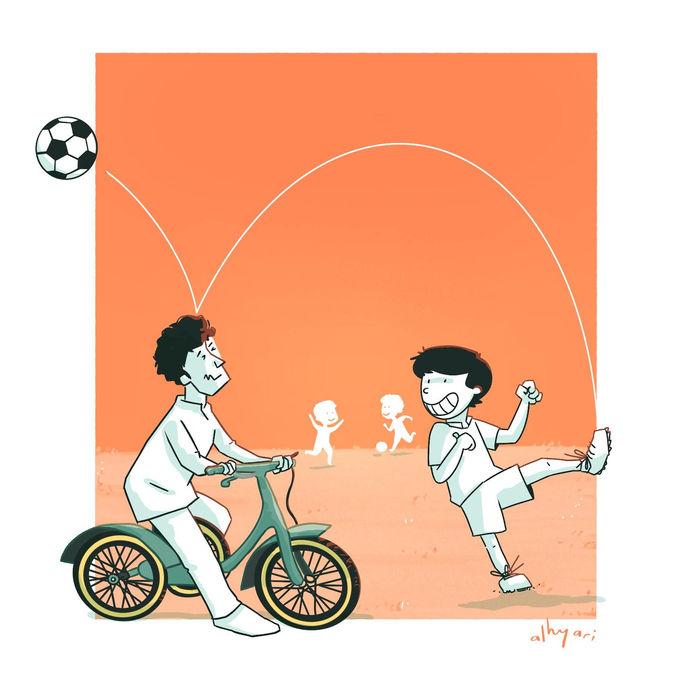 The Football Field | Digital Cartoon for a Children's Book