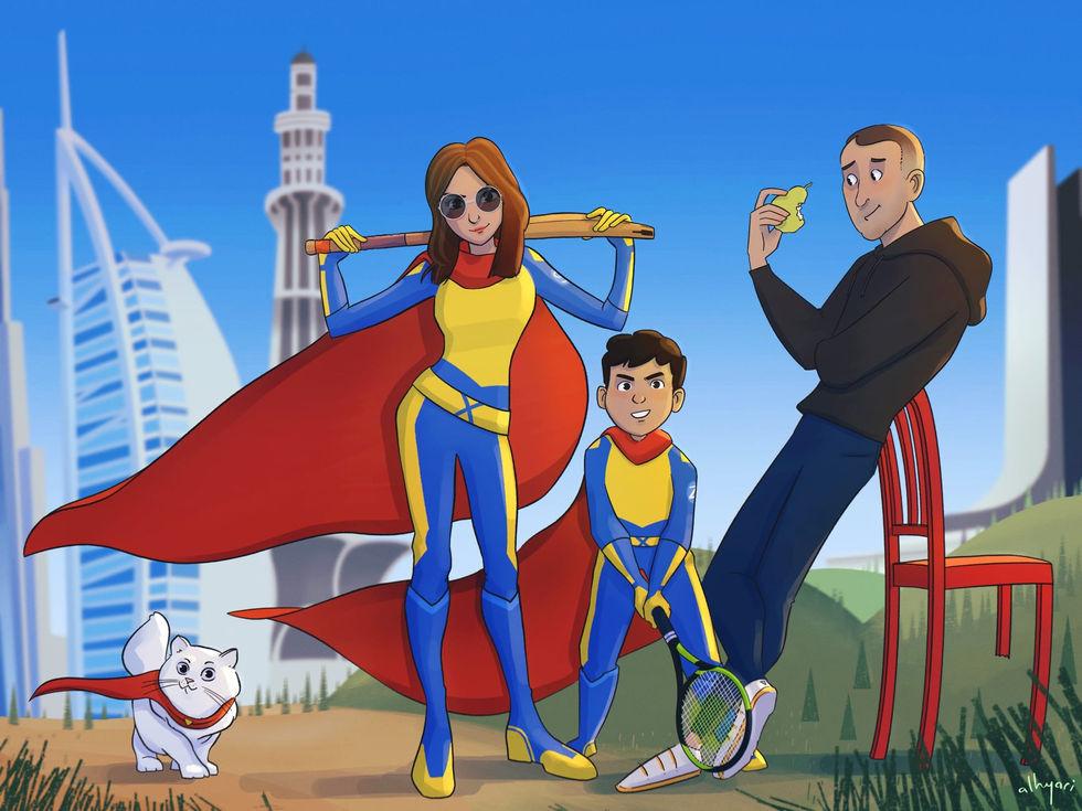 Superheroes.. and Dad   Custom Cartoon Portrait Painting