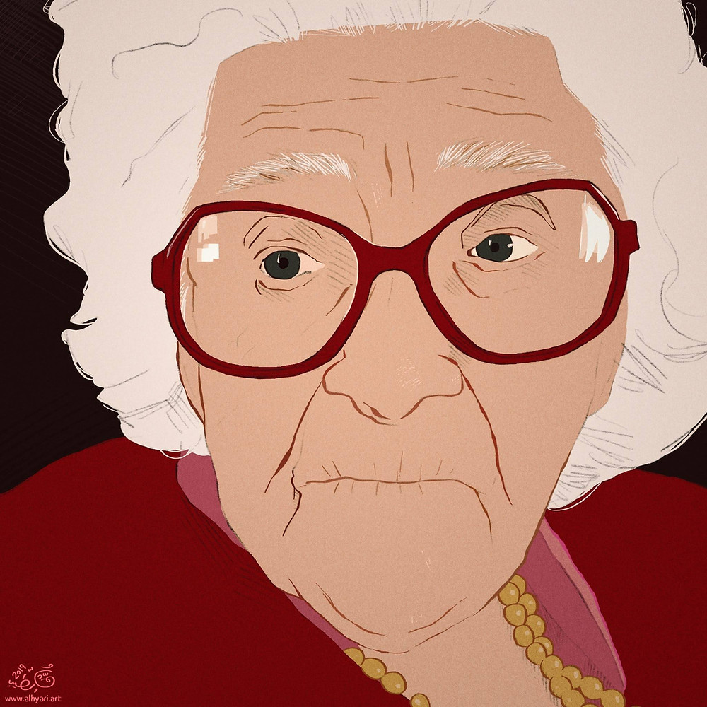 Old woman with glasses, her name is Ella Ruth | Digital Portrait Painting for Reddit Gets Drawn, by Freelance Digital Artist & Illustrator Alhyari.Art