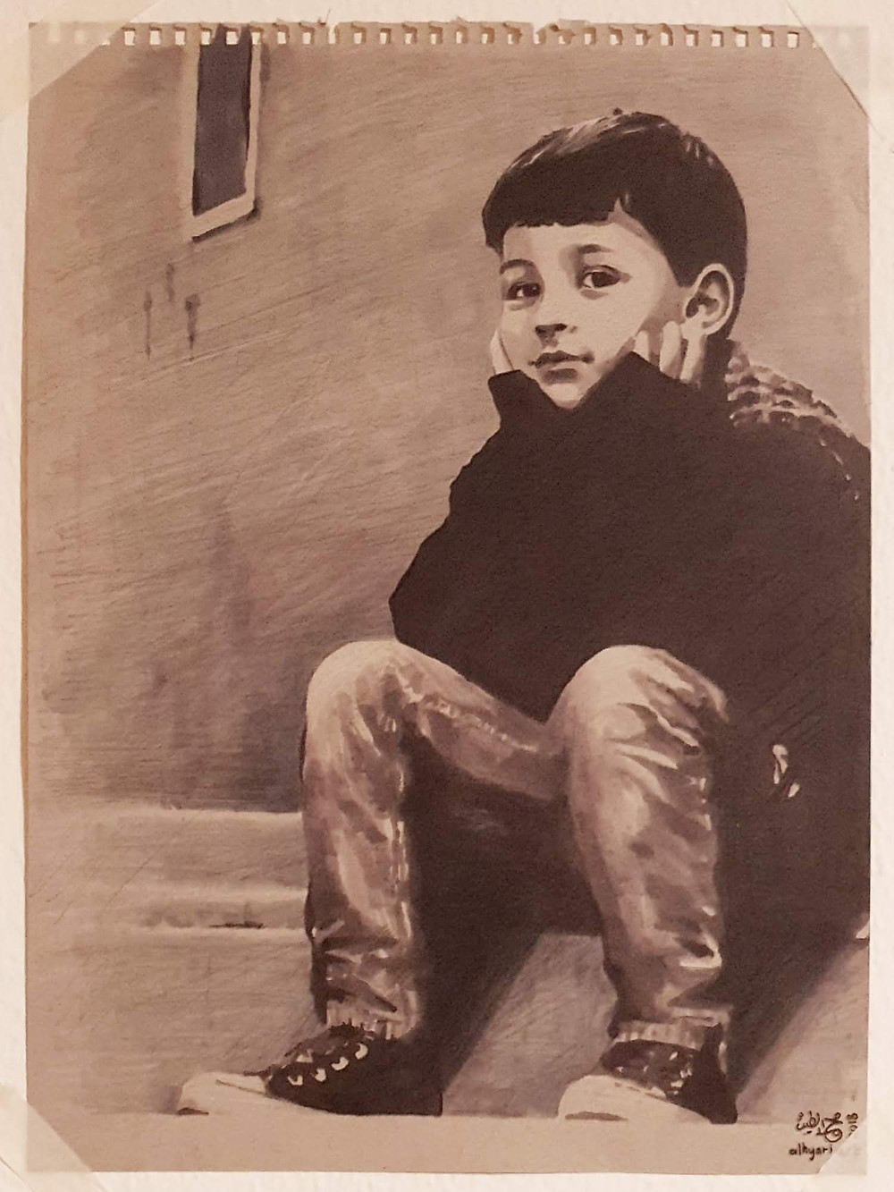 A painting of the artist's son, Tameem al-Hyari, done traditionally using copic markers, pencils and pens on toned paper.