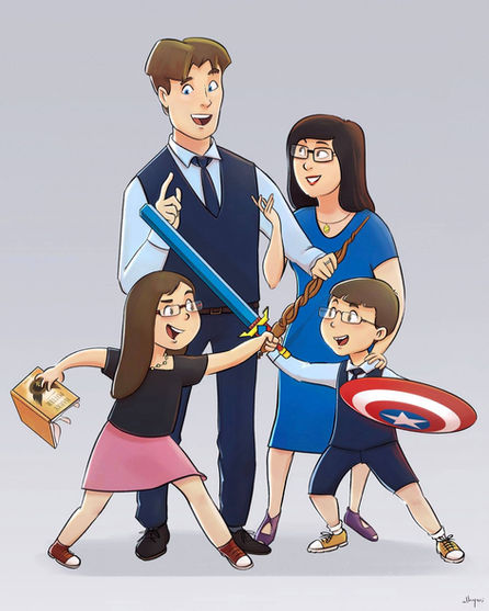 Cartoon Family Portrait Painting   Art Commission