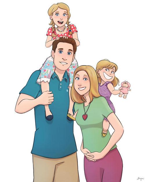 Family Cartoon Portrait   Art Commission