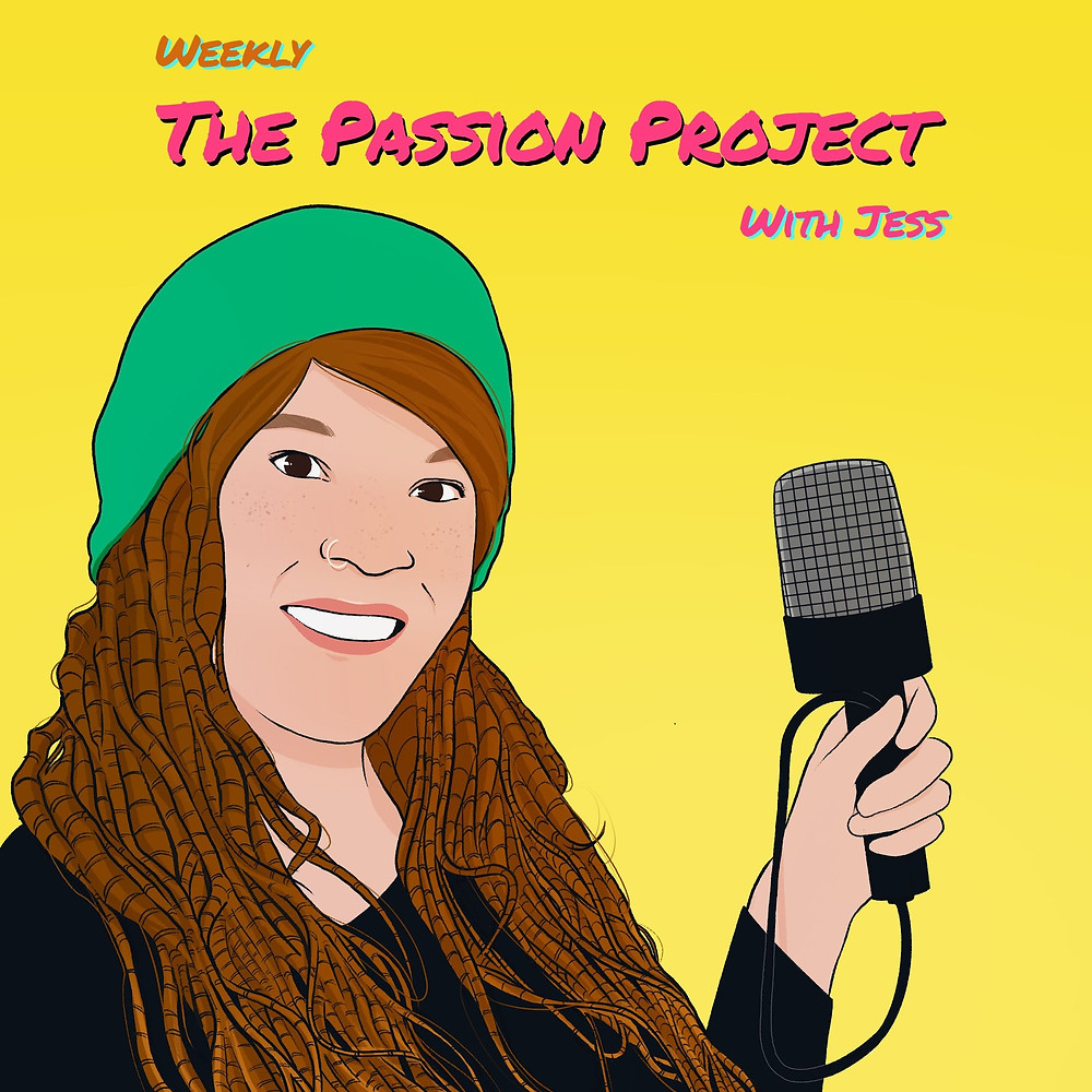 digital portrait illustration by alhyari art showing a woman with green hat and microphone over a yellow backrgound. The hair of Jess Polhuis is made into dreadlocks.