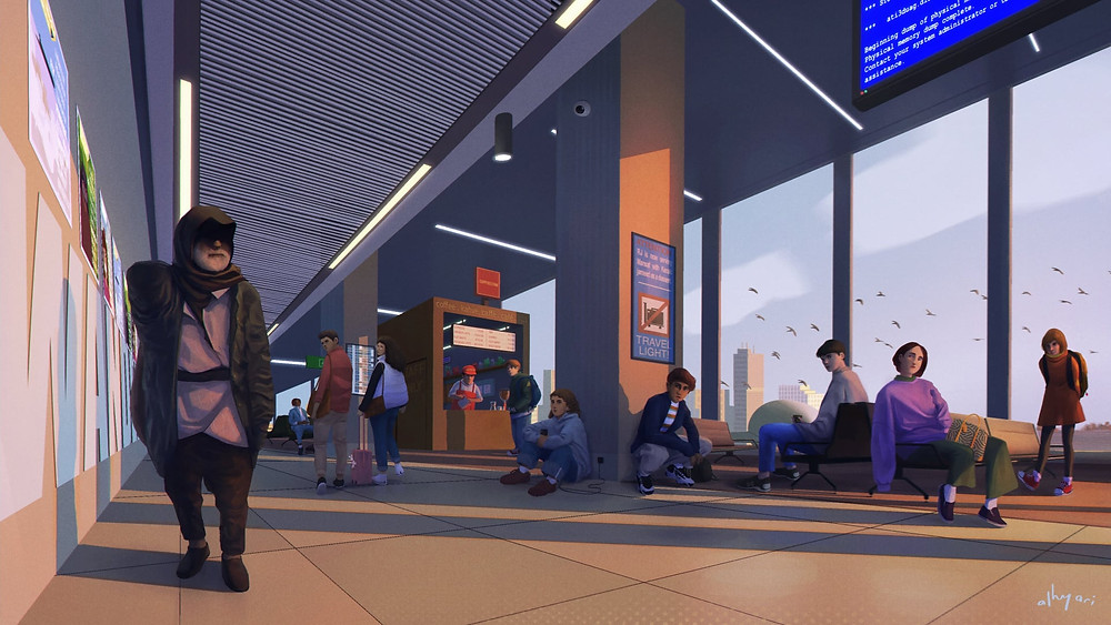 narrative digital painting showing an arab man walking lonely in an airport with all eyes on him. painted digitally in procreate by freelance digital artist and illustrator Alhyari.