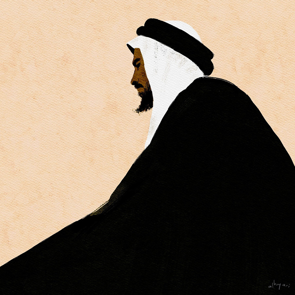 arab sheikh with black beard wearing the traditional dress. digital watercolor portrait painting by alhyari art