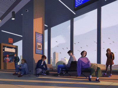 digital narrative painting by freelance digital artist Alhyari, it shows many people in an airport at sunset with their eyes looking at one direction