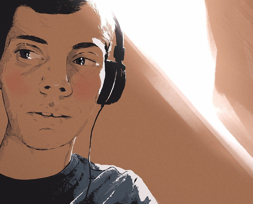 Young man with headset, painted digitally in traditional style | Digital Portrait Painting for Reddit Gets Drawn, by Freelance Digital Artist & Illustrator Alhyari.Art