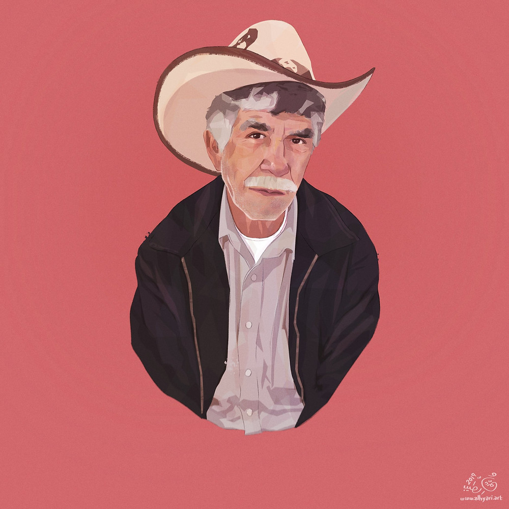 Old man with cowboy hat | Digital Portrait Painting for Reddit Gets Drawn, by Freelance Digital Artist & Illustrator Alhyari.Art