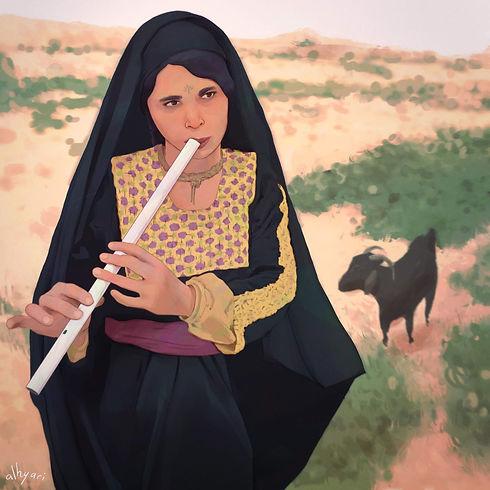 the-artist-art-for-art-bedouin-woman-musician-nay-sinai-portrait-digital-painting-procreat