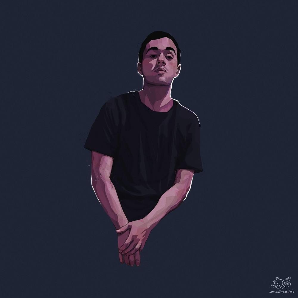 Young man wearing black tshirt | Digital Portrait Painting for Reddit Gets Drawn, by Freelance Digital Artist & Illustrator Alhyari.Art