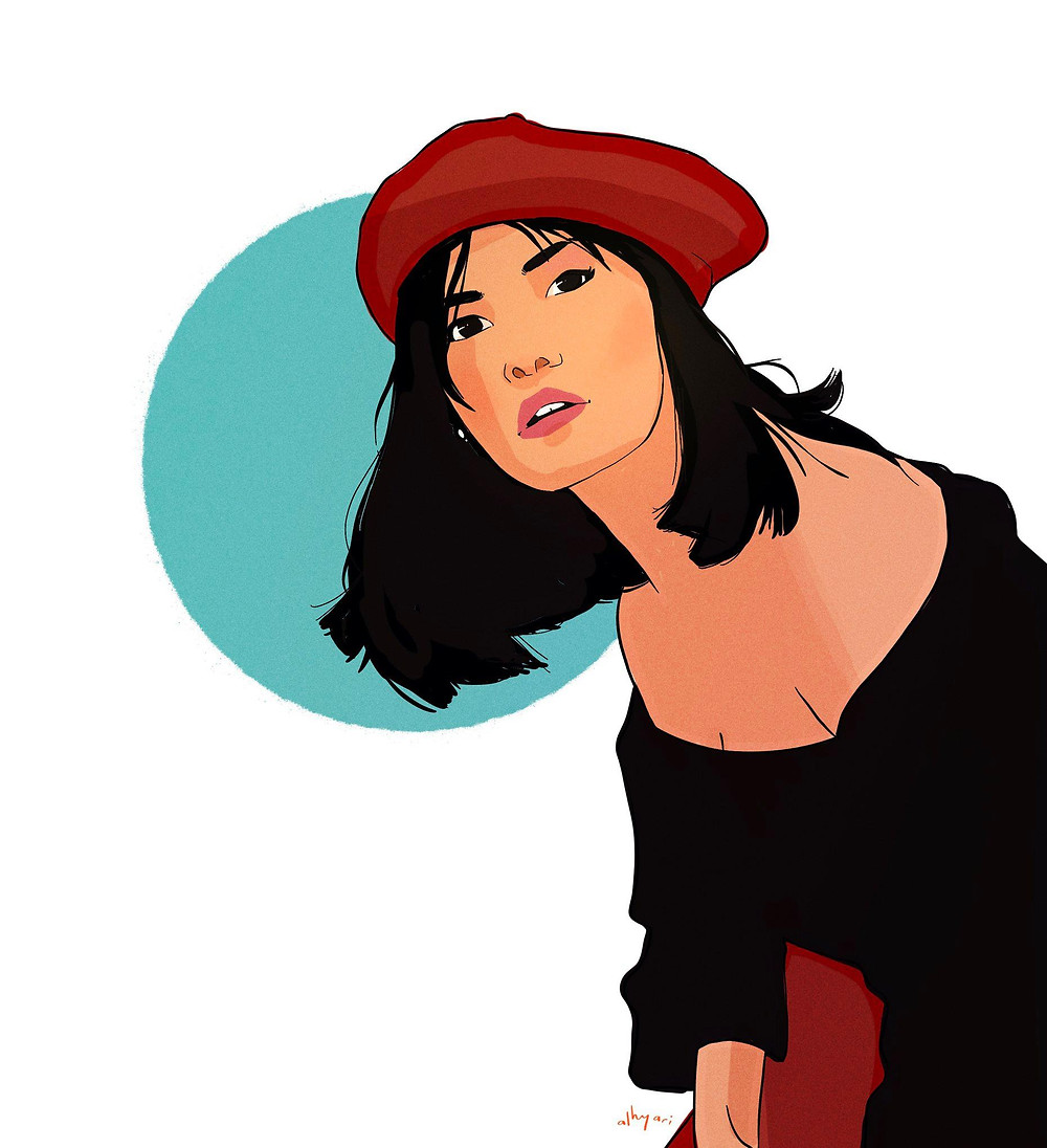 Asian woman in black leaning forward and looking confused | Digital Portrait Painting for Reddit Gets Drawn, by Freelance Digital Artist & Illustrator Alhyari.Art