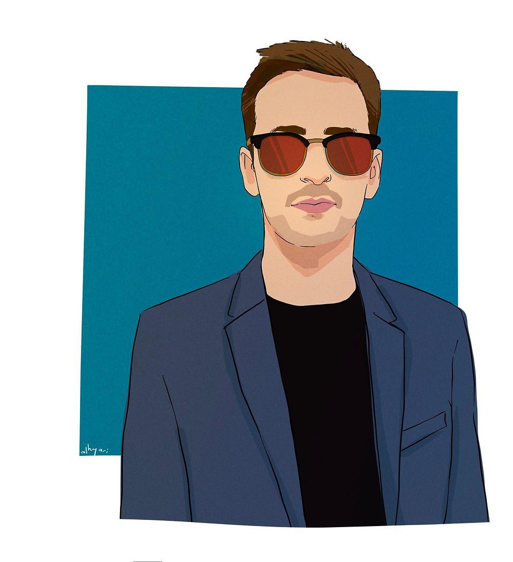 A man with glasses | Digital Portrait Painting for Reddit Gets Drawn, by Freelance Digital Artist & Illustrator Alhyari.Art