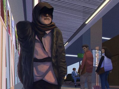 digital narrative painting by freelance digital artist Alhyari, it shows many people in an airport at sunset with their eyes looking at one direction (in the picture we see an old arab man looking up with his eyes hidden in the shadwos. Two young figures in the back are looking at him.)
