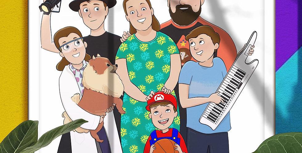 Family, Togetherness, Mother, Love, Caricature Portrait, Cartoon Portrait, Gift a Portrait, Photo to Caricature, Alhyari.Art